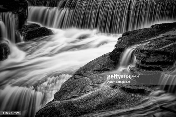 falling waterfall on the mountain stream (hdri) - falling water flowing water stock pictures, royalty-free photos & images