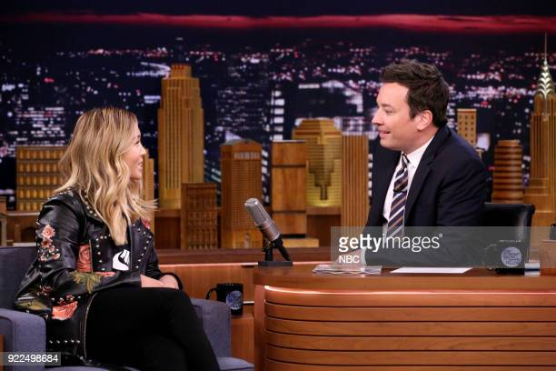 Athlete Chloe Kim during an interview with host Jimmy Fallon on February 21 2018