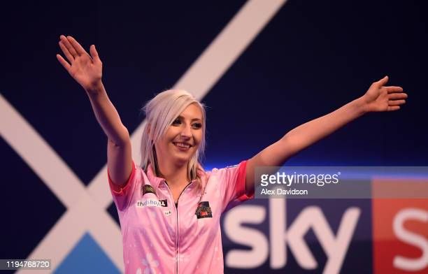 Fallon Sherrock acknowledges the fans after winning her 1st round game against Ted Evetts to become the first female to win a game in the PDC World...