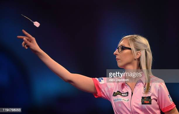 Fallon Sherrock in action during her 1st round game against Ted Evetts during Day 5 of the 2020 William Hill Darts Championship at Alexandra Palace...