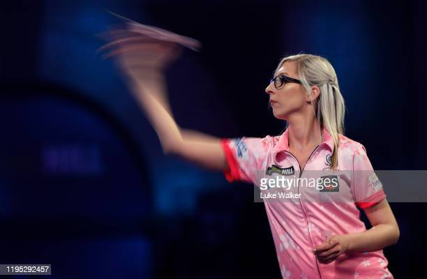 Fallon Sherrock in action during the round 2 match between Mensur Suljovic and Fallon Sherrock on Day 9 of the 2020 William Hill World Darts...