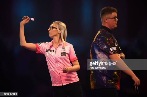 Fallon Sherrock lines up her final dart prior to winning her 1st round game against Ted Evetts to become the first female to win a game in the PDC...