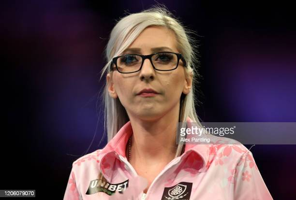Fallon Sherrock looks on in her match against Glen Durrant during day two of the Unibet Premier League at Motorpoint Arena on February 13 2020 in...