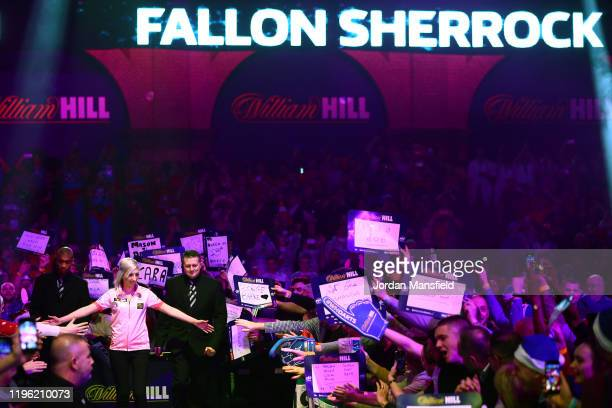 Fallon Sherrock of England enters the stage during her third round match against Chris Dobey of England on Day 12 of the 2020 William Hill World...