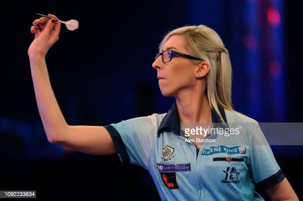 Fallon Sherrock of England in action against Maria O'Brien of England during Day Six of the BDO World Darts Championship at Lakeside Country Club on...