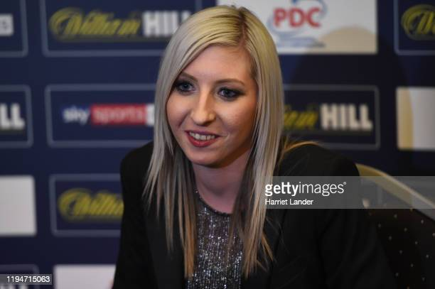 Fallon Sherrock of England speaks to media during a press conference on Day 6 of the 2020 William Hill World Darts Championship at Alexandra Palace...