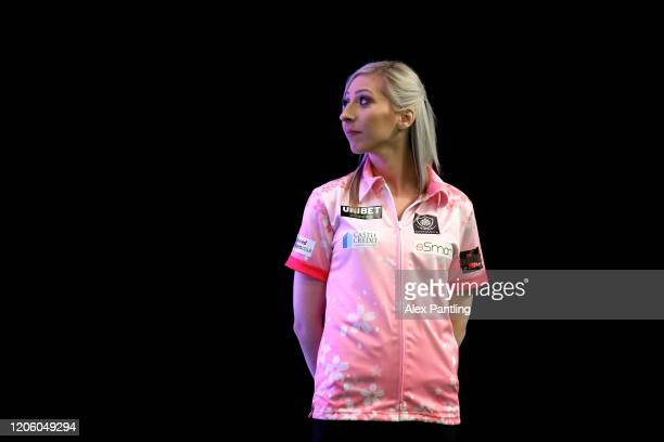 Fallon Sherrock of England stands on stage prior to day two of the Unibet Premier League at Motorpoint Arena on February 13 2020 in Nottingham England