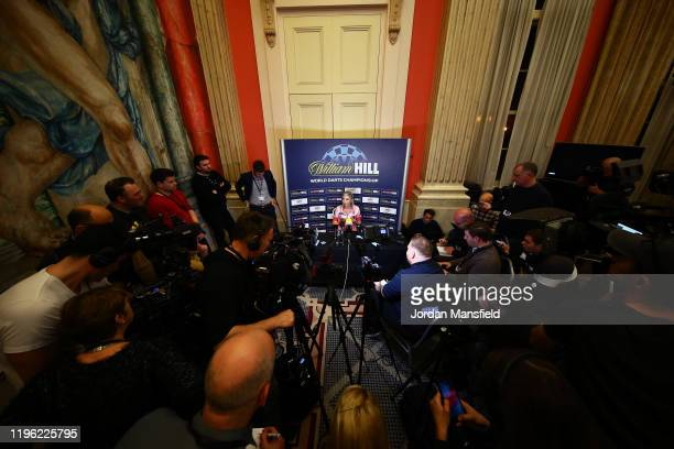 Fallon Sherrock of England talks to the press after her third round match against Chris Dobey of England on Day 12 of the 2020 William Hill World...