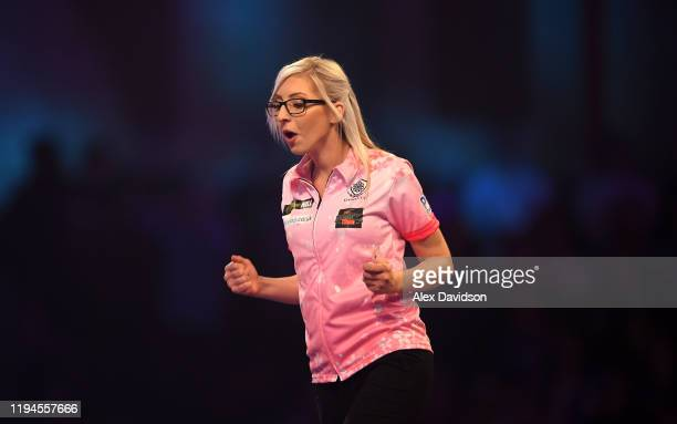Fallon Sherrock reacts after winning her 1st round game against Ted Evetts to become the first female to win a game in the PDC World Championships...