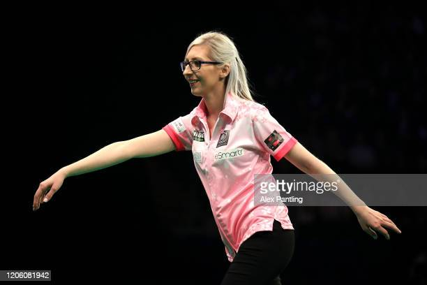 Fallon Sherrock reacts in her match against Glen Durrant during day two of the Unibet Premier League at Motorpoint Arena on February 13 2020 in...