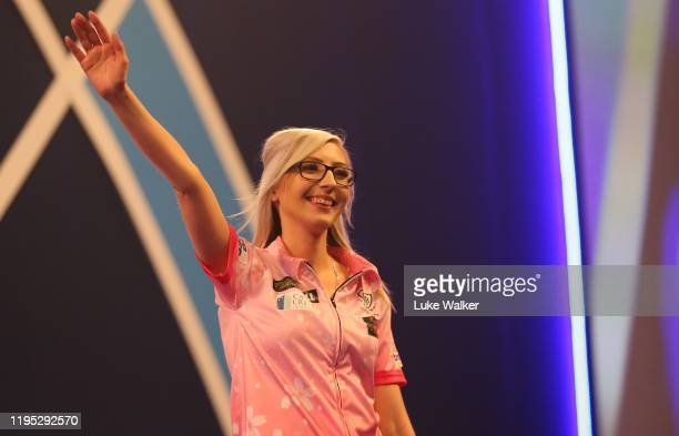 Fallon Sherrock reacts to winning the round 2 match between Mensur Suljovic and Fallon Sherrock on Day 9 of the 2020 William Hill World Darts...
