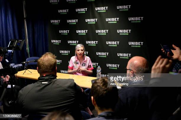 Fallon Sherrock speaks to the media after her draw in the match against Glen Durrant during day two of the Unibet Premier League at Motorpoint Arena...