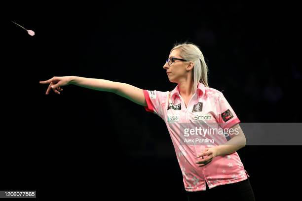 Fallon Sherrock throws in her match against Glen Durrant during day two of the Unibet Premier League at Motorpoint Arena on February 13 2020 in...