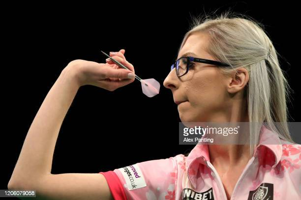 Fallon Sherrock throws in her match against Glen Durrant during day two of the Unibet Premier League at Motorpoint Arena on February 13, 2020 in...