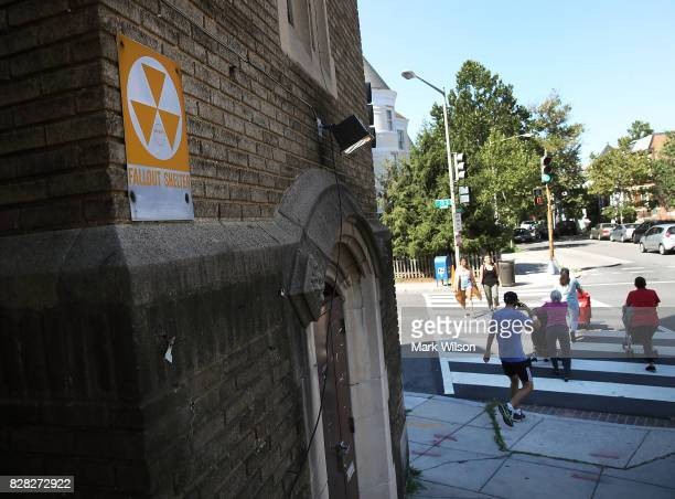 A fallout shelter sign hangs on the Mount Rona Baptist Church on August 9 2017 in Washington DC In the early 60's Washington was at the center of...