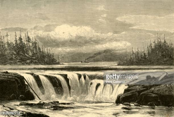 Falls of the Willamette', 1872. Waterfall in Oregon, USA: 'The falls of this stream [the Willamette River] are justly celebrated for their beauty....