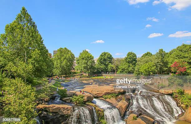 falls park on the reedy - greenville south carolina stock photos and pictures
