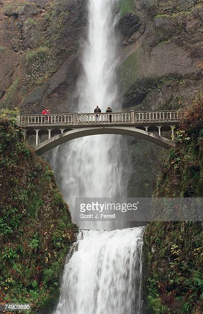 FALLSSightseers cross a footbridge at Multnomah Falls Oregon's No 1 tourist attraction and the fifth tallest falls in the US with a total drop of 621...