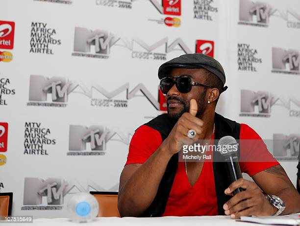 Fally Ipupa attends a Press Conference at the EKO Hotel Sky Terrace for the MTV Africa Music Awards with Airtel on December 10 2010 in Lagos Nigeria