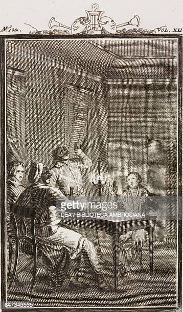 Faloppa toasting with Brighella Piston and Harlequin engraving by Antonio Viviani from a drawing by G Steneri from The Wise Wife Act I Scene 1...