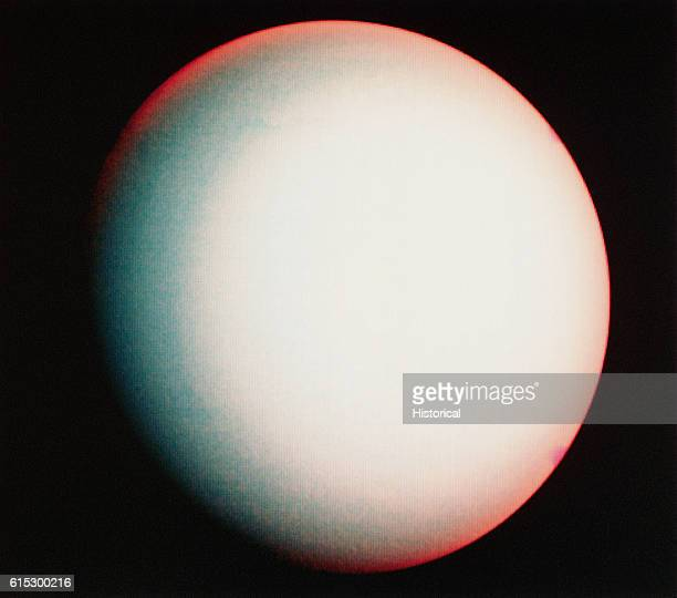 False color composite photograph of planet Uranus, taken by Voyager 2 on January 26, 1986.