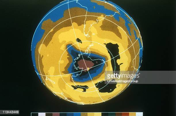 False colour image of Antarctic ozone hole 30 November 1992 NASA photograph