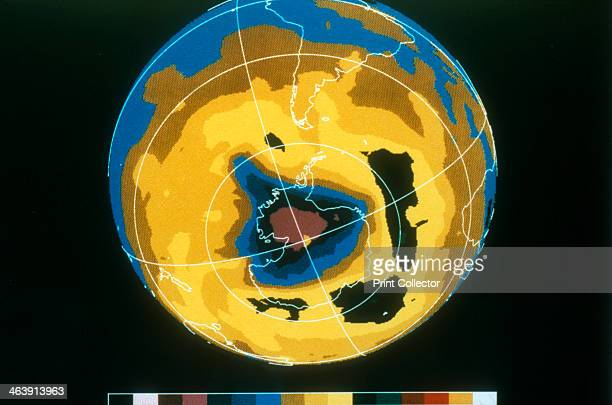 False colour image of Antarctic ozone hole 30 November 1992 The ozone layer plays a vital role in protecting life on Earth from harmful ultraviolet...