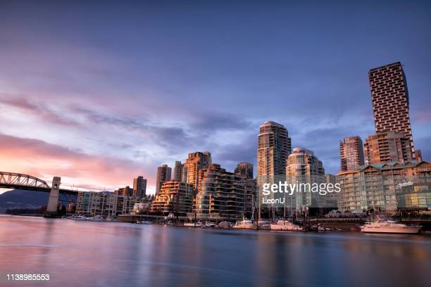 false creek at sunset, vancouver, canada - vancouver stock pictures, royalty-free photos & images