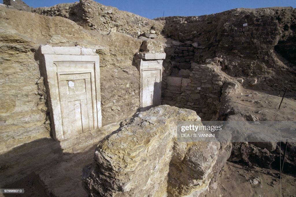 False doors symbolizing the gateway to the underworld excavation site near the Pyramid of Teti & False doors symbolizing gateway to underworld Pictures | Getty Images