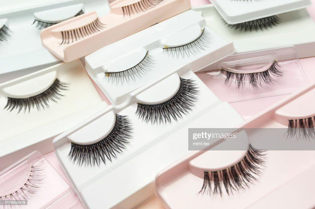 false eye lashes  tweezer mascara : Stock Photo