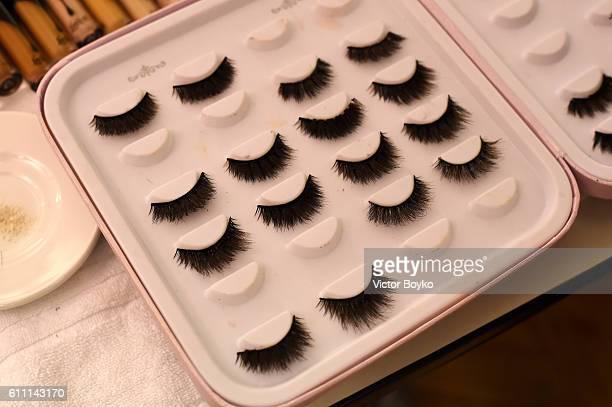 False eyelashes are seen backstage during FENTY x PUMA by Rihanna at Hotel Salomon de Rothschild on September 28 2016 in Paris France