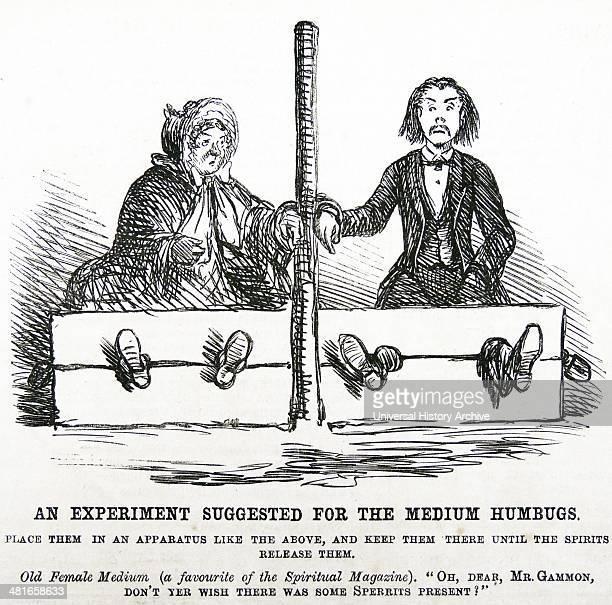 False mediums in the stocks the recommended treatment for the fraudulent mediums who were duping gullible people Cartoon from ''Punch'' London 1862