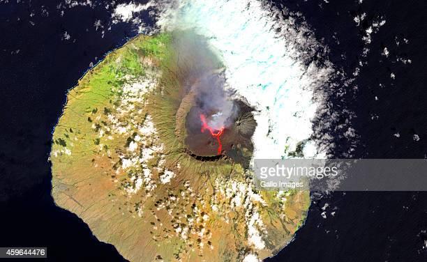 A falsecolour satellite view of Pico do Fogo volcano on November 24 2014 in Fogo Cape Verde Pico do Fogo volcano erupted on 23 November 2014 This...