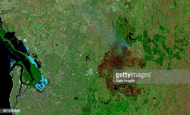 False-colour satellite view of the Adelaide Hills bush fire on January 4, 2015 in Adelaide, Australia. This image is a combination of Shortwave...