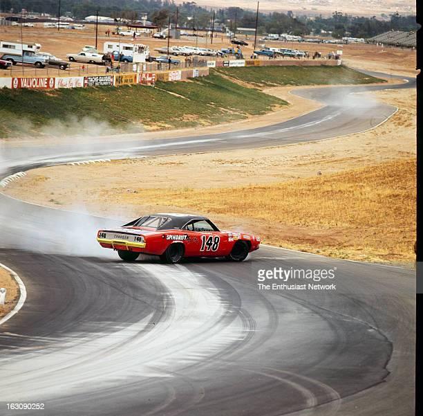 Falstaff 400 NASCAR Riverside The number 148 Spindrift Marina Dodge Charger spins in the corner