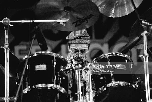 Famadou Don Moye, drums, performs with AEOC at the North Sea Jazz Festival in the Hague, the Netherlands on 15 July 1990.