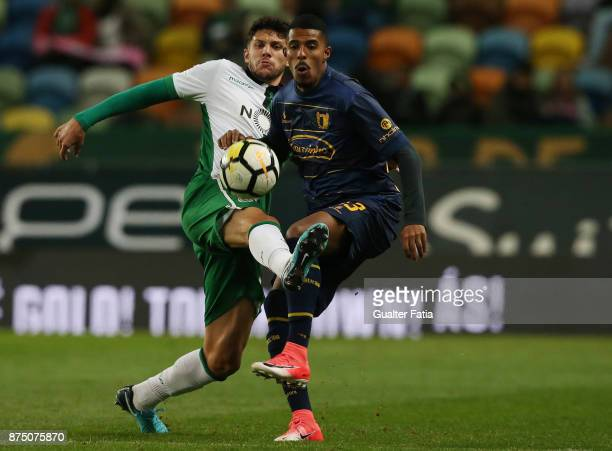 Famalicao forward Anderson Silva from Brazil with Sporting CP defender Tobias Figueiredo from Portugal in action during the Portuguese Cup match...
