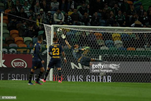 Famalicao goalkeeper Gabriel Souza from Brasil saves a goal during the match between Sporting CP and FC Famalicao for the Portuguese Cup at Estadio...