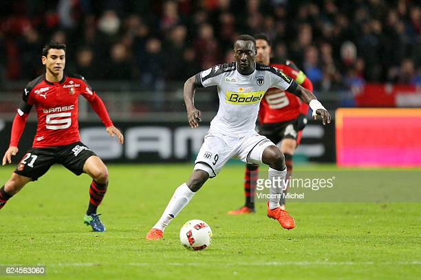 Famara Dhiediou of Angers during the Ligue 1 match between Stade Rennais and Sco Angers at Stade de la Route de Lorient on November 19 2016 in Rennes...