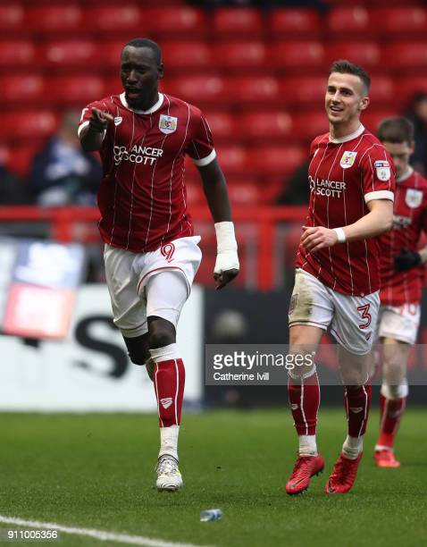 Famara Diedhiou of Bristol City celebrates after he scores his sides first goal during the Sky Bet Championship match between Bristol City and Queens...