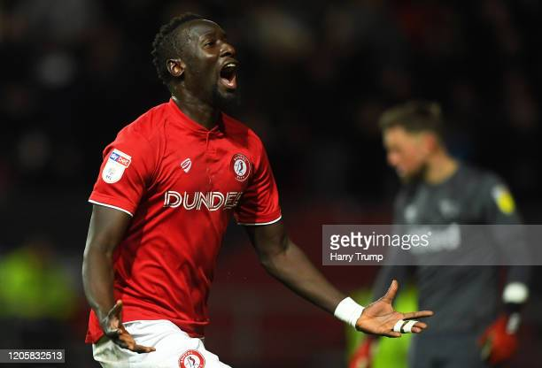 Famara Diedhiou of Bristol City celebrates after scoring his sides third goal during the Sky Bet Championship match between Bristol City and Derby...