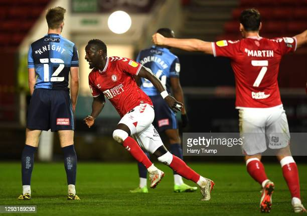 Famara Diedhiou of Bristol City celebrates after scoring his team's second goal during the Sky Bet Championship match between Bristol City and...