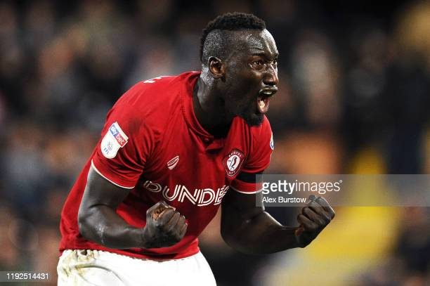 Famara Diedhiou of Bristol City celebrates scoring his team's second goal during the Sky Bet Championship match between Fulham and Bristol City at...