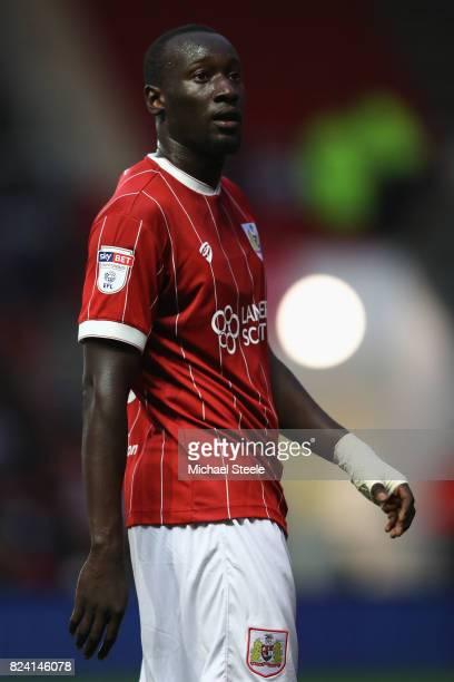 Famara Diedhiou of Bristol City during the pre season match between Bristol City and FC Twente at Ashton Gate on July 28 2017 in Bristol England