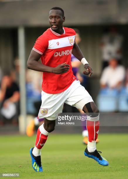 Famara Diedhiou of Bristol City during the PreSeason Friendly between Bristol City v Cheltenham Town on July 10 2018 in WestonSuperMare England