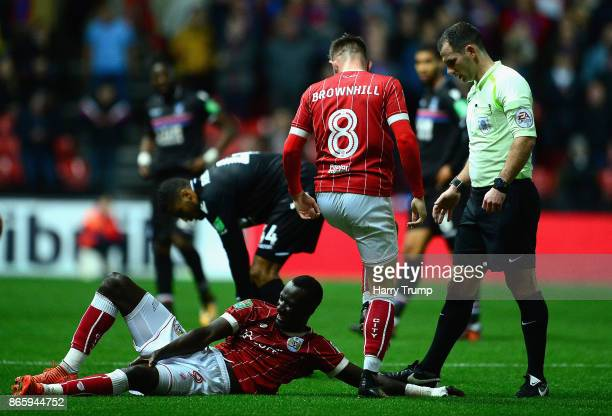 Famara Diedhiou of Bristol City reacts following an injury during the Caraboa Cup Fourth Round match between Bristol City and Crystal Palace at...