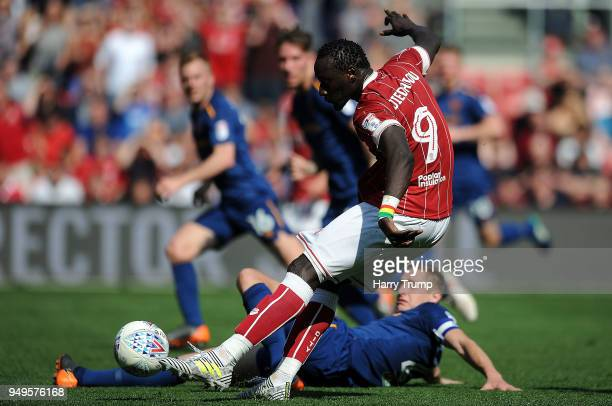 Famara Diedhiou of Bristol City scores his sides second goal during the Sky Bet Championship match between Bristol City and Hull City at Ashton Gate...