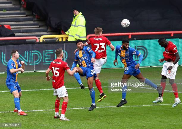 Famara Diedhiou of Bristol City scores his team's first goal during the FA Cup Third Round match between Bristol City and Shrewsbury Town at Ashton...