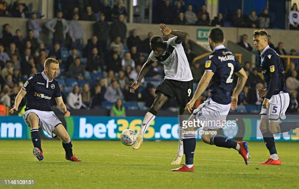 Famara Diedhiou of Bristol City scores his team's second goal during the Sky Bet Championship match between Milwall and Bristol City at The Den on...
