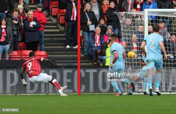 Famara Diedhiou of Bristol scores the second goal during the Sky Bet Championship match between Bristol City and Sunderland at Ashton Gate on...